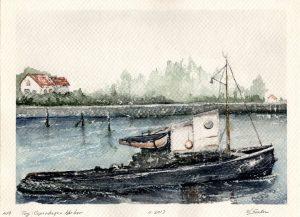 Watercolor - Tug Boat - Copenhagen Harbor