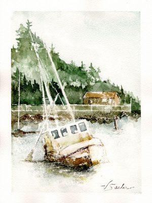 Watercolor - Trawler at Low Tide