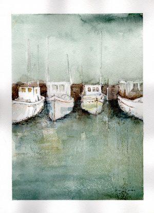 Watercolor - Harbor Boats