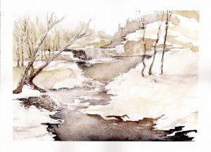 Watercolor - Winter Creek