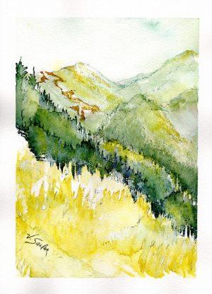 Watercolor - Gray Wolf Ridge