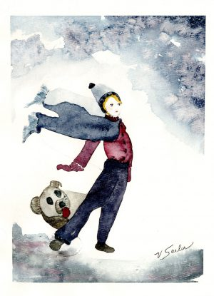 Watercolor - Whimsical Boy and Dog