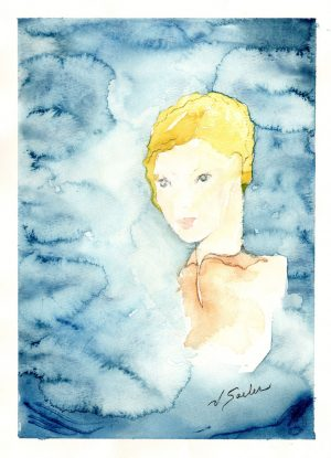 Watercolor - Whimsical Girl With Head In Clouds