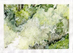 Watercolor - Woodland Path