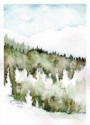 Watercolor - Mountain Snow