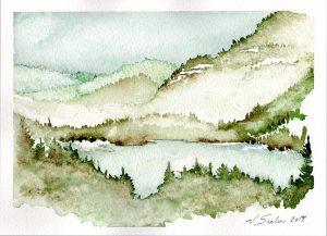 Watercolor - Lake Mills Dam