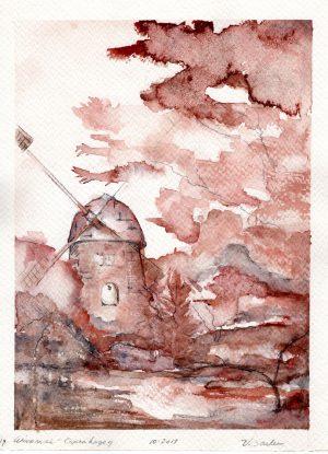 Watercolor - Windmill in Copenhagen